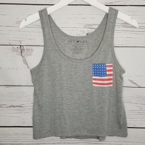 Fifth Sun | Cropped American Flag Print Pocket Top